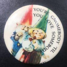 Vintage 1978 Unieboek Gnome Couple Button Pinback Pin