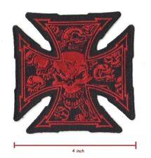 OUTLAW HOG BIKER EMBROIDERED MALTESE 13-SKULL IRON CROSS Iron-on RED SKULL PATCH
