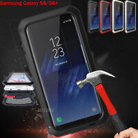 Shockproof Tempered Glass Metal Heavy Duty Cover Case For Galaxy Note8 S8 / S8+