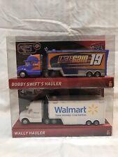 LOT OF 2 DISNEY PIXAR CARS 3 HAULERS: BOBBY SWIFT & WALLY-WALMART-BRAND NEW HTF