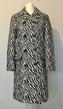 TOPSHOP Monochrome Zebra Animal Print Coat Women ~UK 12~ Double Breasted NEW