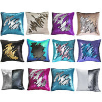"""16"""" Double Color Reversible Bling Pillow Sequin Cover Glitter Sofa Cushion Case"""