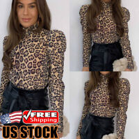 Women Leopard Puff Sleeve T-Shirt Tops Ladies Slim Fit Turtleneck Casual Blouse
