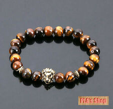 Stone Beaded Bracelets-Hot New 2018 Leo Lion Head Bracelet Black Lava