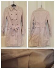 Womens Trench Jacket Coat Long Sleeves Sz small Slim Fit Belt Beige