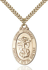 14K Gold Filled St Michael Guardian Angel Military Catholic Medal Necklace