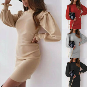 UK Womens Bodycon Bodycon Fitted Pure Wrap Long Sleeve Party Ladies Mini Dress