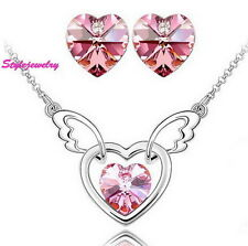 White Gold Filled Pink Heart Bridal Set Made With Swarovski Crystal N59XE4