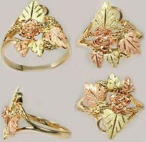Gold Ring Black Hills Dakota Artisan 12k Red Rose Green Grapes Leaf Arabia Ophir