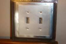 CHROME TRIM WITH BRUSHED FINISH DOUBLE LIGHT SWITCH PLATE OUTLET COVER