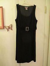 K E N A R - Black Dress - size 10  scooped neck Sleeveless - Rayon/Nylon/Spandex
