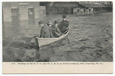 1907 Postcard Boaters in Flood Wheeling West Virginia