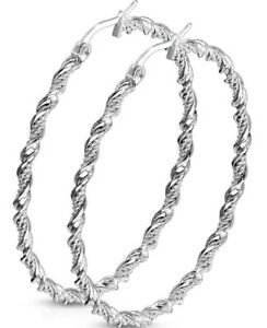 *NEW & SEALED -High Quality Silver Twist 50mm Extra Large Hoop Pair Of Earrings