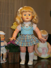 "1980's Platinum Blond Aqua Eyes Twist Wrist All Original 22"" Estrela Kissy Doll"