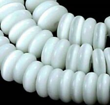 "7x2mm Cat's Eye Glass Heishi Rondelle Beads 15"" - White"