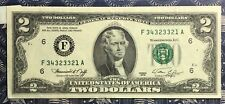 1976 $2 DOLLAR BILL  US PAPER MONEY CURRENCY GREEN SEAL COLLECTOR NOTE. 3321A