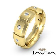 6.5mm Mens Block Link Eternity Wedding Band 14k Yellow Gold Diamond Ring 0.24Ct