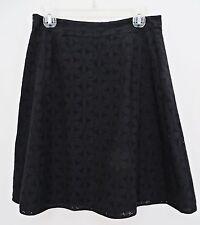 Context Lord & Taylor Women Black Floral Eyelet Lace Cotton Skirt Sz 10 10P
