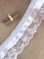 White Gathered Lace Triple with Satin Ribbon 3.5 inch/9 cm