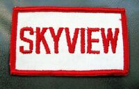 "SKYVIEW EMBROIDERED SEW ON ONLY PATCH  UNIFORM ADVERTISING COMPANY 3 1/2"" x 2"""