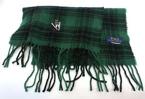 "Polo Ralph Lauren Ski Bear Green Plaid Scarf Wool Blend Long 64"" Made Italy"
