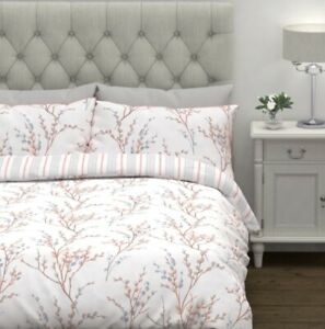 BRAND NEW LAURA ASHLEY Pussy Willow Coral KingSize Bed Set-Duvet + 2 Pillowcases
