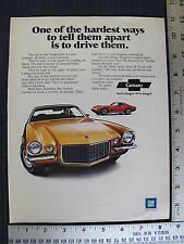1971 71 Chevrolet Chevy Camaro Gold Corvette Red  Print Ad Advertisement