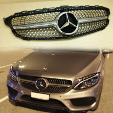 Front Diamond Grill Silver For Mercedes-BENZ W205 C-Class C450AMG Type 2015-2018