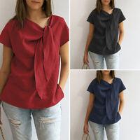 Women Short Sleeve Bows O Neck Cotton Plain Casual Loose Blouse T Shirt Tee Top