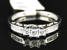14K White Gold 3 Stone Princess Diamond Engagement Ring 1/4 Ct