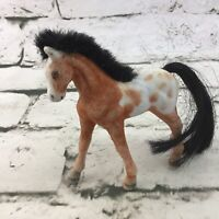 Vintage Flocked Horse Figure Spotted Colt Pony Collectible Model Toy