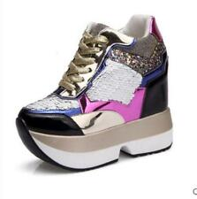 Women Creeper Sequins Lace Up Platform Sneakers Athletic Wedge Heel Casual Shoes