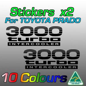 3000 turbo intercooler stickers decals x2 for Toyota Prado  **premium quality**