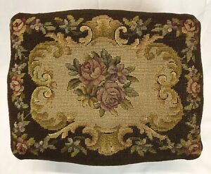 Antique French Hand Carved Wood Foot Stool Roses Flowers Petit Point Needlepoint
