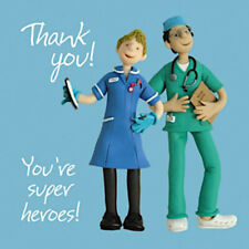 Nurse and Doctor You're Superheroes NHS Hospital Blank Thank You Card