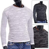 Mens Black Sweater Long SleeveFitness Warm Crew Neck Knitwear Cotton Slim Fit