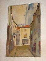 ECOLE FRANCAISE XIX PETIT TABLEAU VUE VILLE ANIMEE CLOCHER GOTHIQUE RUE 1900