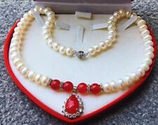 Gorgeous 14KGP Royal Austrian Crystal 10mm Freshwater Pearl Red Agate Necklace
