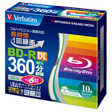 10 Verbatim Bluray Disc 50 GB BD-R Dual Layer 6x Speed Inkjet Printable Spindle.
