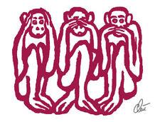 JACQUELINE DITT - 3 Wise Monkeys Original Druck Grafik signiert  drei Affen