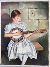 Salvatore De Rosa - Young Girl playing a Cumbus Mandolin - oil on Canvas