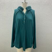 Umgee Hooded Tunic T-Shirt Top Women's L Teal Waffle Knit Henly Long Sleeve Tee
