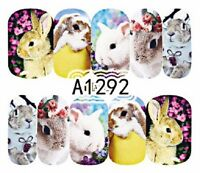 Nail Art Water Decals Stickers Transfers Wraps Easter Bunny Rabbits Spring A1292