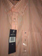 ****NWT BRAND NEW LG TOMMY HILFIGER SPORT Dress Shirt Polo Orange&White Long Slv