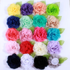 20pcs 8.5cm Green Leaf Chiffon Flowers For Hair Accessories You pick Color
