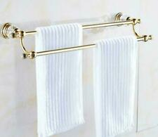 Wall Mounted Brass+Crystal Gold Bath 50CM Double Towel Rack Hanging Towel Bar