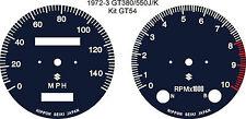SUZUKI GT380 GT550 J/K/L/M/A/B SPEEDO REV COUNTER TACH GAUGE FACE OVERLAYS
