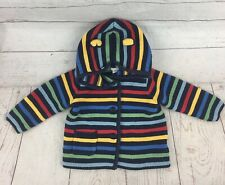 Baby GAP Boy 6-12 Months SWEATER Multicolored Striped Bear Hooded Sweater