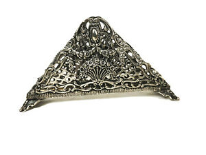 Antique 800 silver Old Filigree Ornate Toast Caddy Holder Carrier