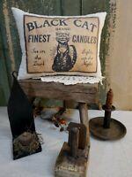 PRIMITIVE 1800'S VINTAGE COLONIAL STYLE BLACK CAT FINEST CANDLES PILLOW